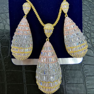 GODKI Luxury Water Drop Cubic Zircon Nigerian Necklace Earring Jewelry Sets For Women Wedding Indian Dubai Bridal Jewelry Sets - Y O L O Fashion Store
