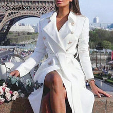 Load image into Gallery viewer, Simplee Vintage double breasted white trench coat for women Sashes slim long trench female Winter office solid trench dress - Y O L O Fashion Store