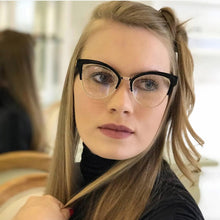 Load image into Gallery viewer, Women Cat Eye Browline Optical Eyeglasses Prescription Acetate Rim Spectacles for Big Rim Glasses Frame Fashion Styles 97653 - Y O L O Fashion Store