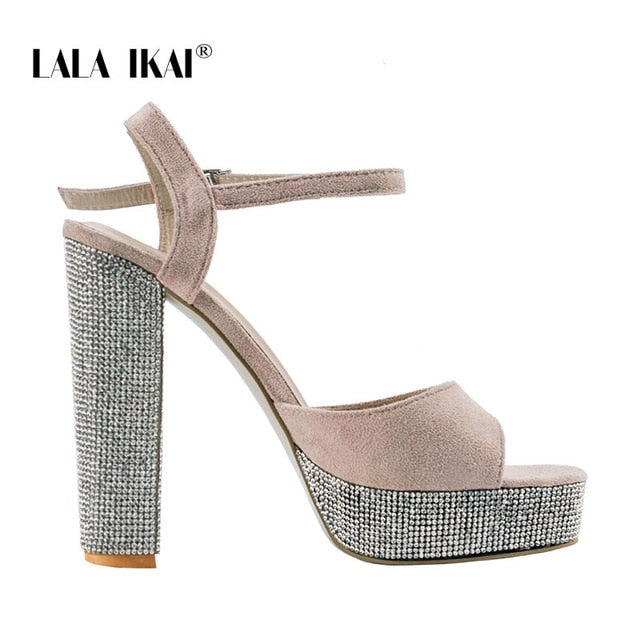 LALA IKAI Women High Heels Sandals Rhinestone Square Heels Pumps Shoes Sexy Wedges Party Platform Sandalia Feminina XWC3655-4