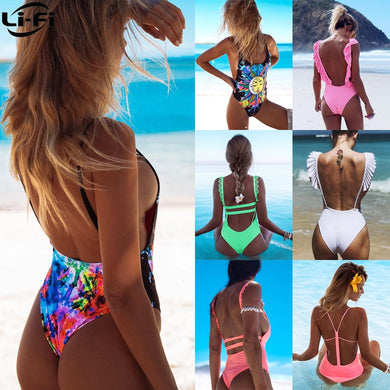 LI-FI Sexy One Piece Swimsuit Women Swimwear 2019 Summer Beachwear Lace swimming suit Bathing Suits Bodysuit Monokini S~XL