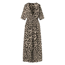 Load image into Gallery viewer, VONDA Women Leopard Print Dress 2019 Autumn Sexy V Neck Half Sleeve High Waist Party Split Long Dresses Casual Vestido Plus Size - Y O L O Fashion Store
