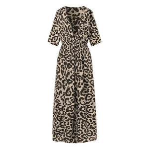 VONDA Women Leopard Print Dress 2019 Autumn Sexy V Neck Half Sleeve High Waist Party Split Long Dresses Casual Vestido Plus Size - Y O L O Fashion Store