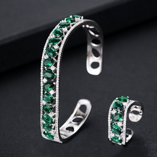 GODKI Luxury Spring Jewelry Sets For Women Wedding Zircon Crystal CZ Qatar Bridal Bangle Ring Sets aretes de mujer modernos 2019