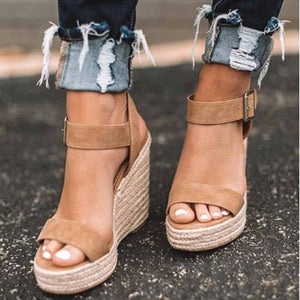 HEFLASHOR Summer Ultra High Wedges Heel Sandals Fashion Open Toe Platform Elevator Women Sandals Shoes Plus Size Pumps 2019