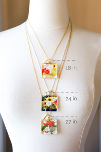 Crockery Patterns - Square Washi Paper Pendant Necklace