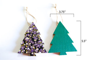 Purple Forest  - Wood Mini Tree Ornament