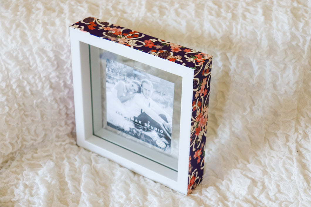 Purple on White - Picture Frame decorated with Washi Paper