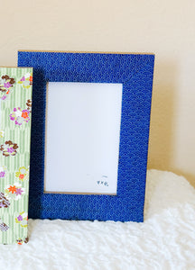 "Blue Mizu - 4"" x 6"" Picture Frame decorated with Washi Paper"