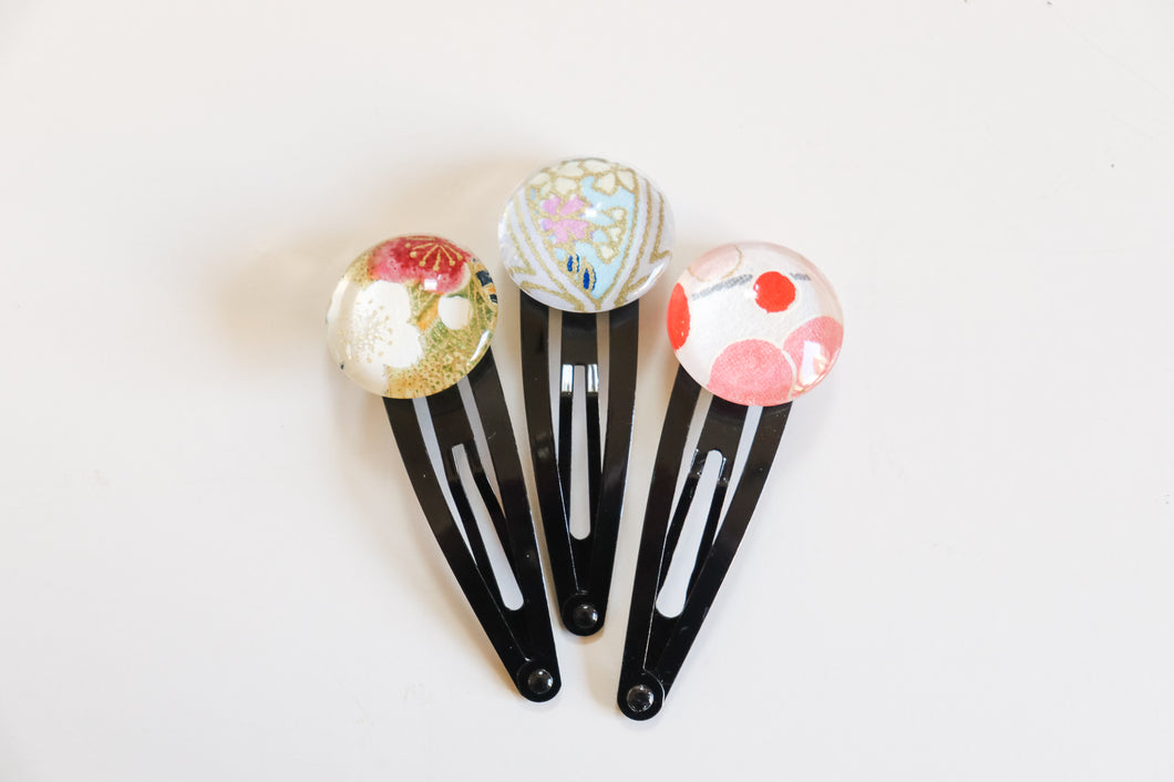 Pretty Blossoms - set of 3 snap hair clips