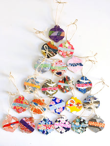 Temari Ornaments - Mini Wood Washi paperOrnament