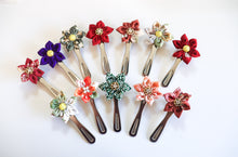 Load image into Gallery viewer, Aka Red - Handsewn Vintage Kimono Silk Fabric Kanzashi Hair Clip