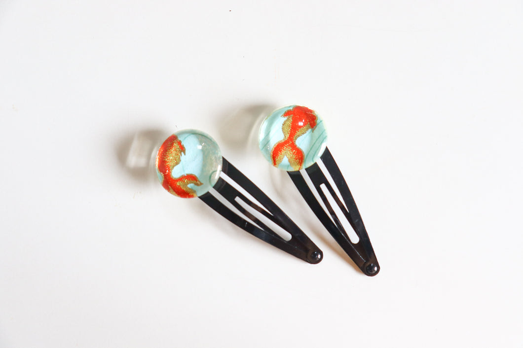 Koi Ponds - 1 matched pair of snap hair clips