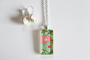 Orange Blossoms - Washi Paper Necklace and Earring Set