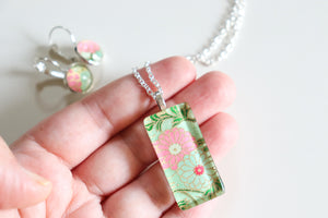 Green Blossoms - Washi Paper Necklace and Earring Set