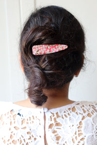 Pink Blossom Blue Waters - Single Alligator Hair Clip