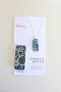 Blue Geo Parasols B - Washi Paper Necklace and Gift Tin Set