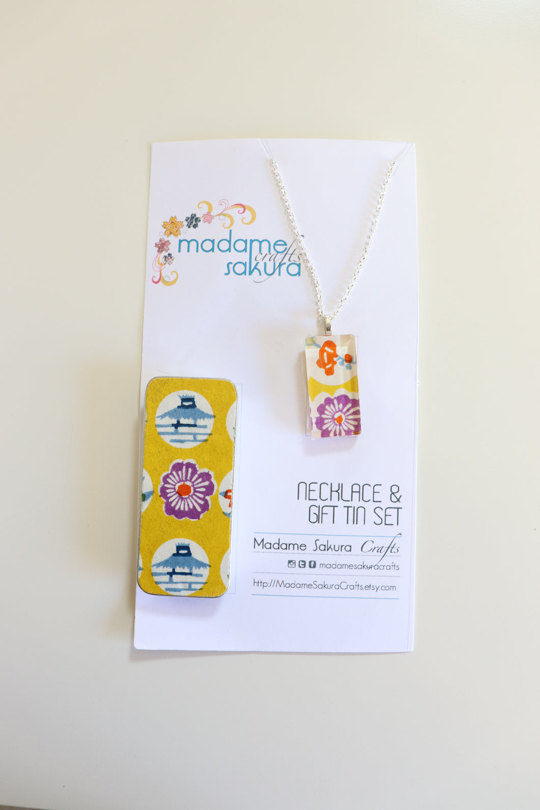 Yellow Landscape B - Washi Paper Necklace and Gift Tin Set