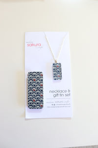 Water Pattern C - Washi Paper Necklace and Gift Tin Set