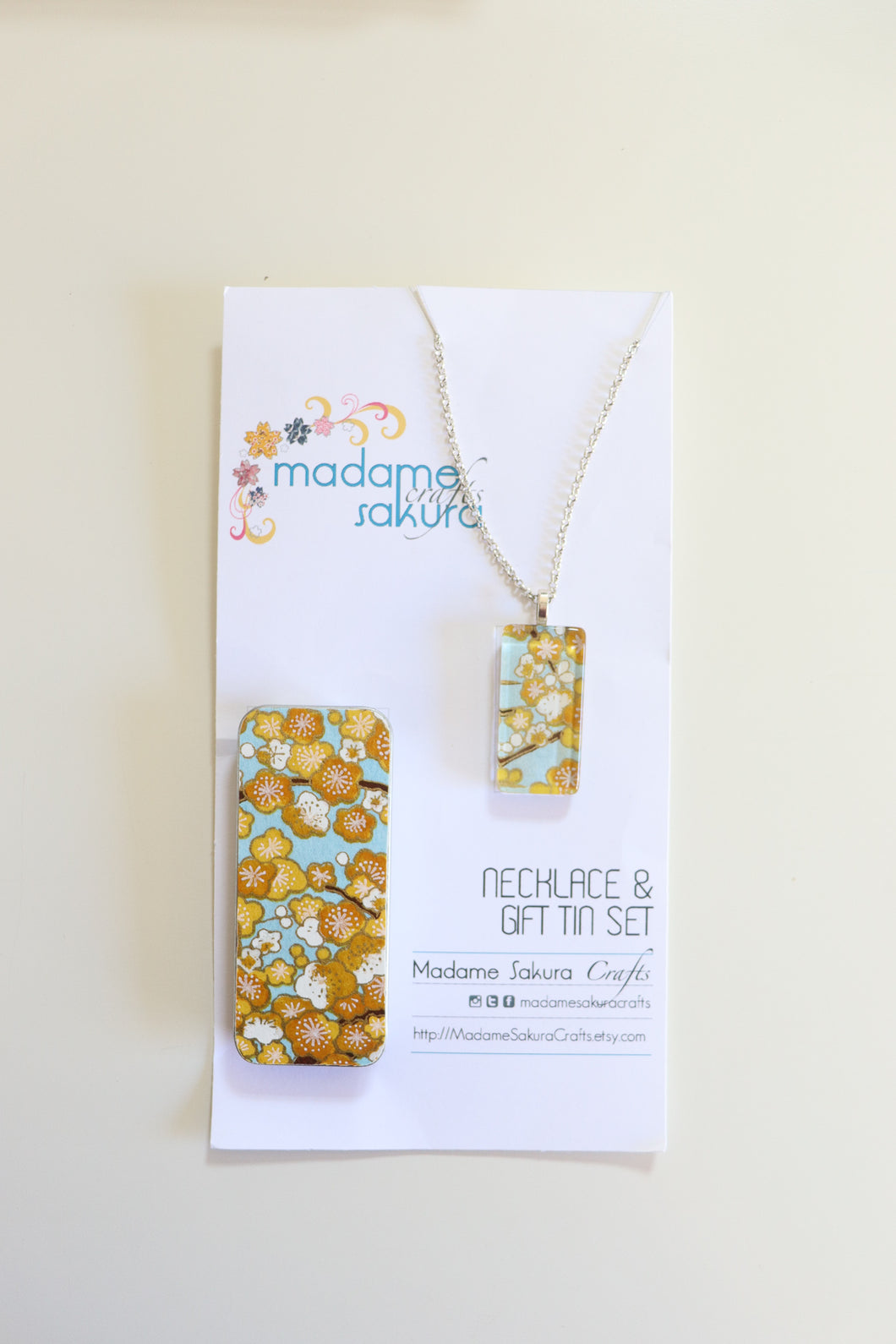 Golden Plum Blossoms A - Washi Paper Necklace and Gift Tin Set
