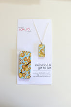 Load image into Gallery viewer, Golden Plum Blossoms B - Washi Paper Necklace and Gift Tin Set