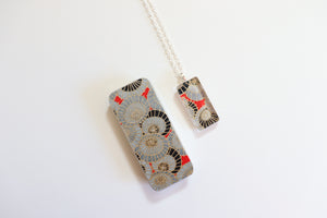 Golden Plum Blossoms B - Washi Paper Necklace and Gift Tin Set