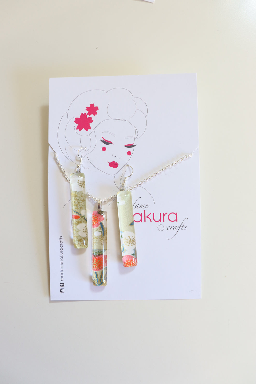 White Blossoms - Washi Paper Necklace and Long Earring Set