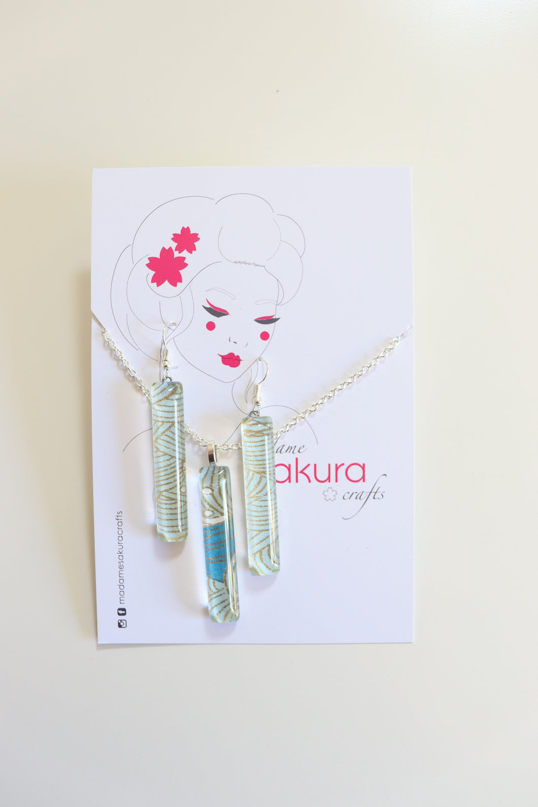 Crisp Blue Seas - Washi Paper Necklace and Long Earring Set
