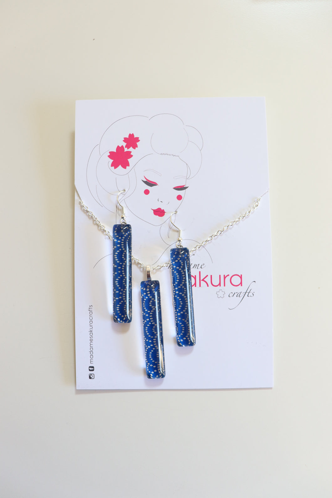 Deeper Blues - Washi Paper Necklace and Long Earring Set