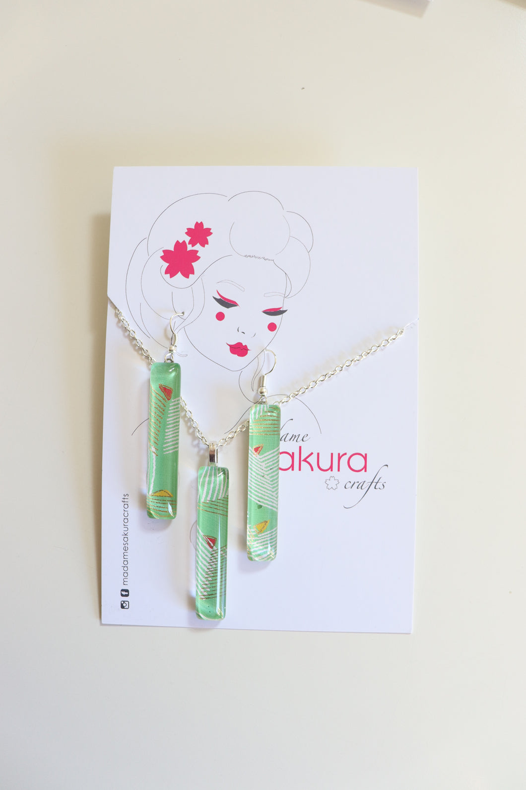 Sea Green - Washi Paper Necklace and Long Earring Set