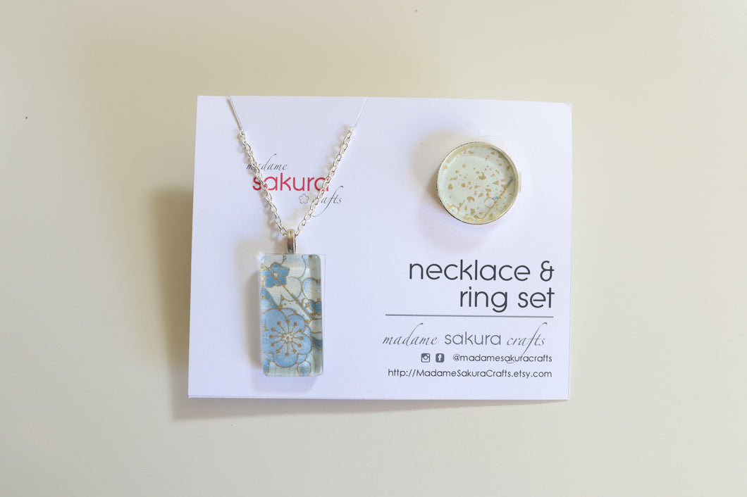 Sky Blue Ume Blossoms - Washi Paper Necklace and Ring Set