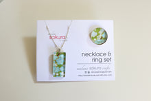 Load image into Gallery viewer, Green Blossoms - Washi Paper Necklace and Ring Set