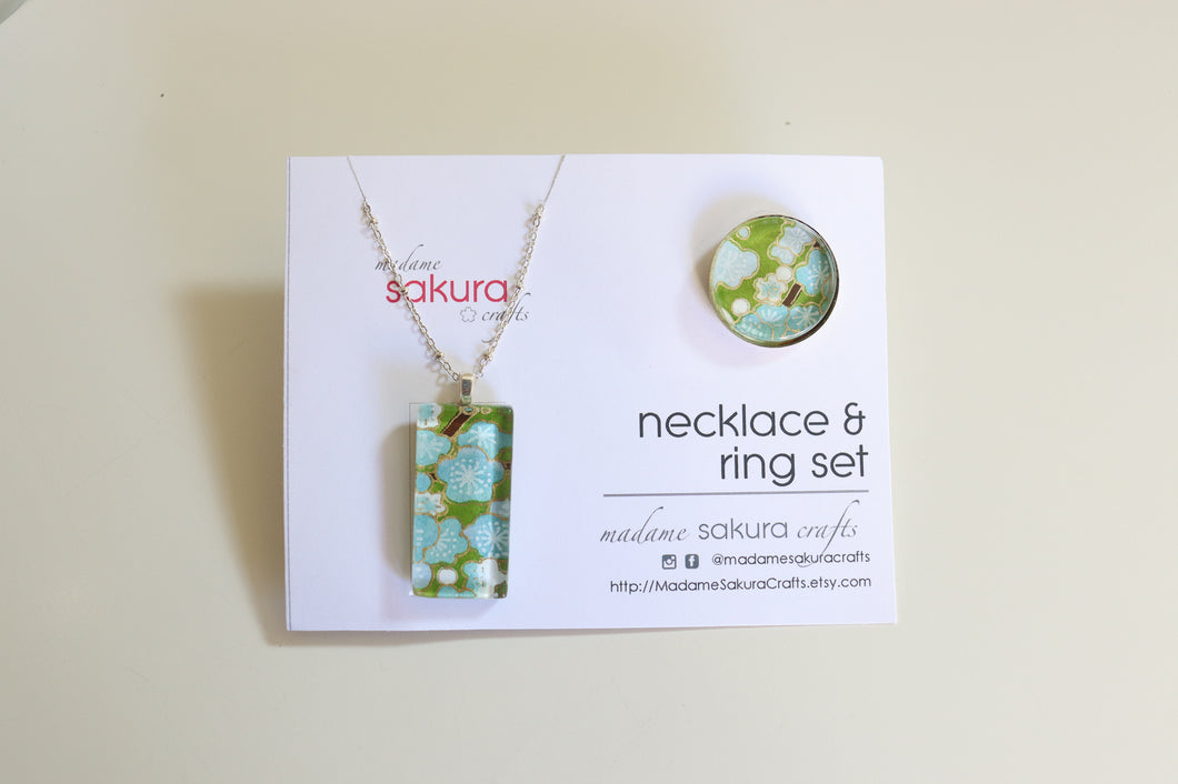 Green Blossoms - Washi Paper Necklace and Ring Set