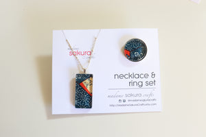 Midnight Dreams - Washi Paper Necklace and Ring Set