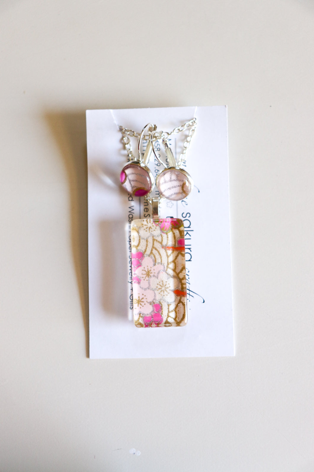 Pink Plums II - Washi Paper Necklace and Earring Set