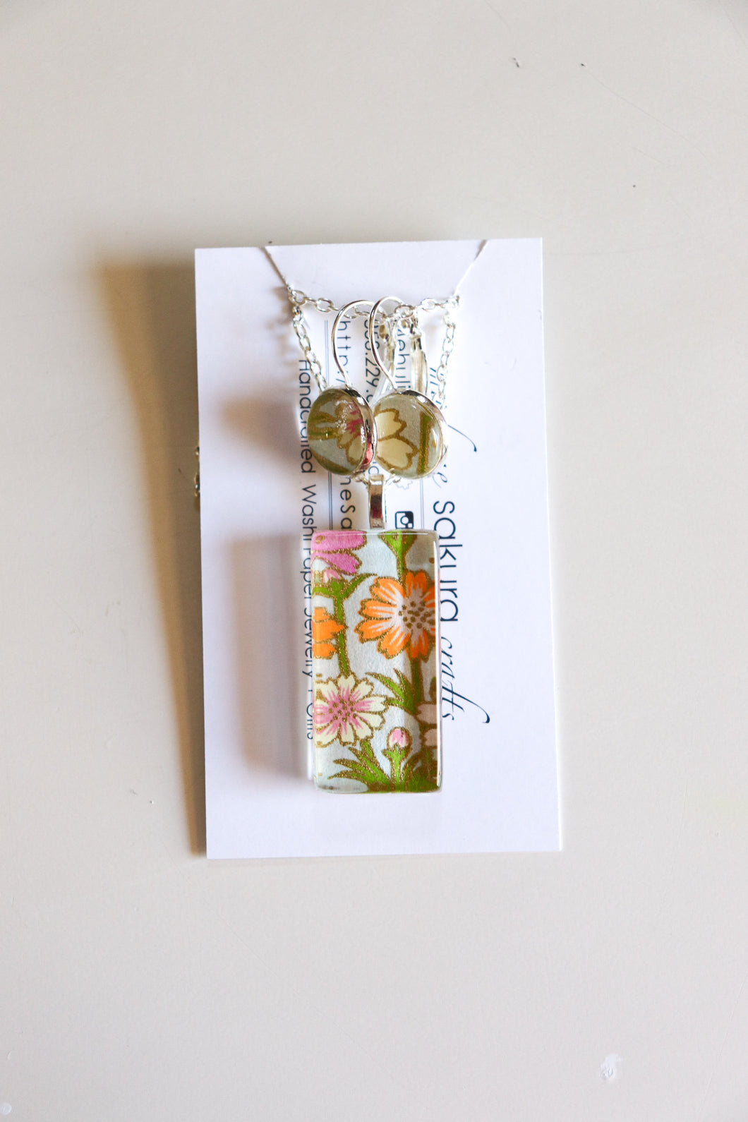 Orange Blossoms II - Washi Paper Necklace and Earring Set