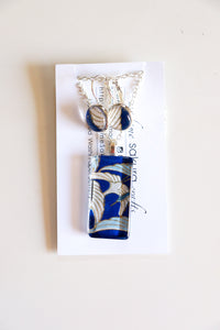 Blue Cranes II - Washi Paper Necklace and Earring Set