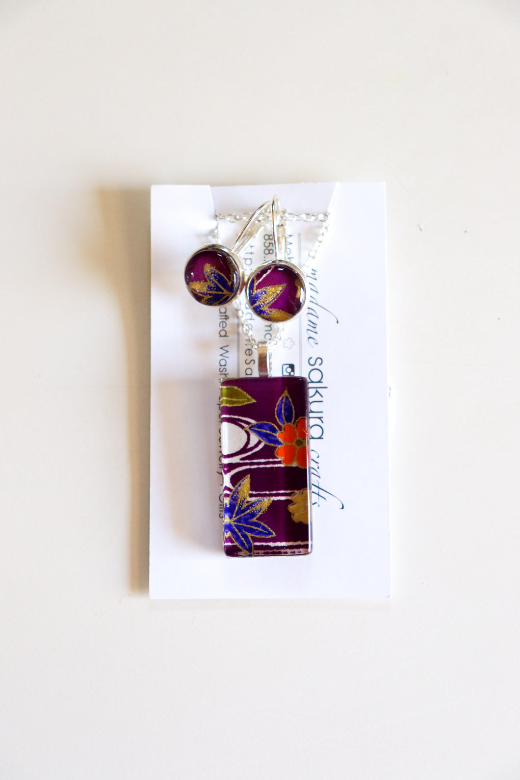 Purple Maple - Washi Paper Necklace and Earring Set