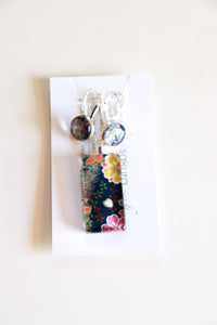 Midnight Blossom Party - Washi Paper Necklace and Earring Set