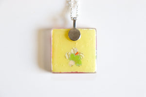 Pink Plum Blossoms - Square Washi Paper Pendant Necklace