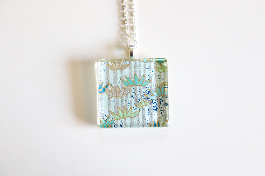 Silver Bamboo - Square Washi Paper Pendant Necklace