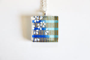 Geometric Sakura - Square Washi Paper Pendant Necklace