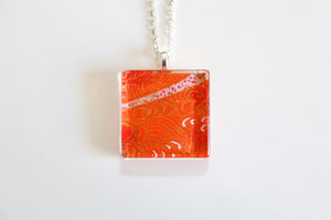 Orange Landscapes - Square Washi Paper Pendant Necklace