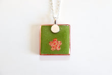 Load image into Gallery viewer, Orange Landscapes - Square Washi Paper Pendant Necklace