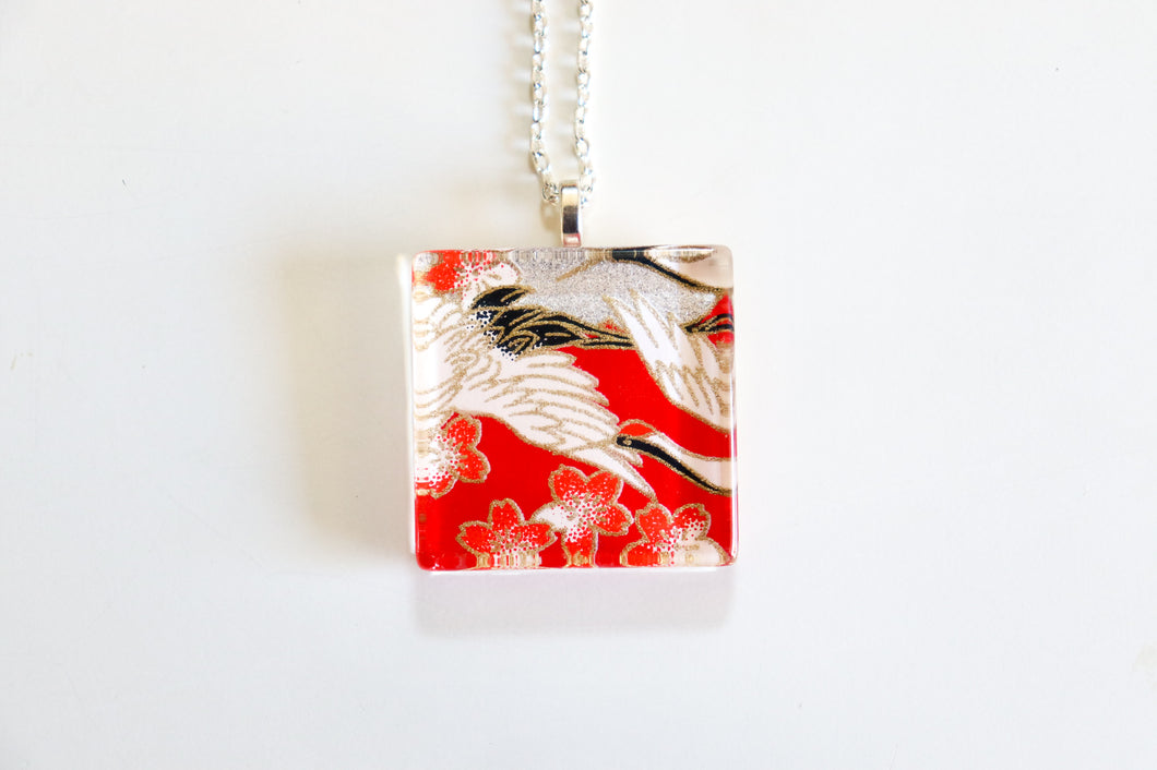 Cranes and Red Blossoms - Square Washi Paper Pendant Necklace