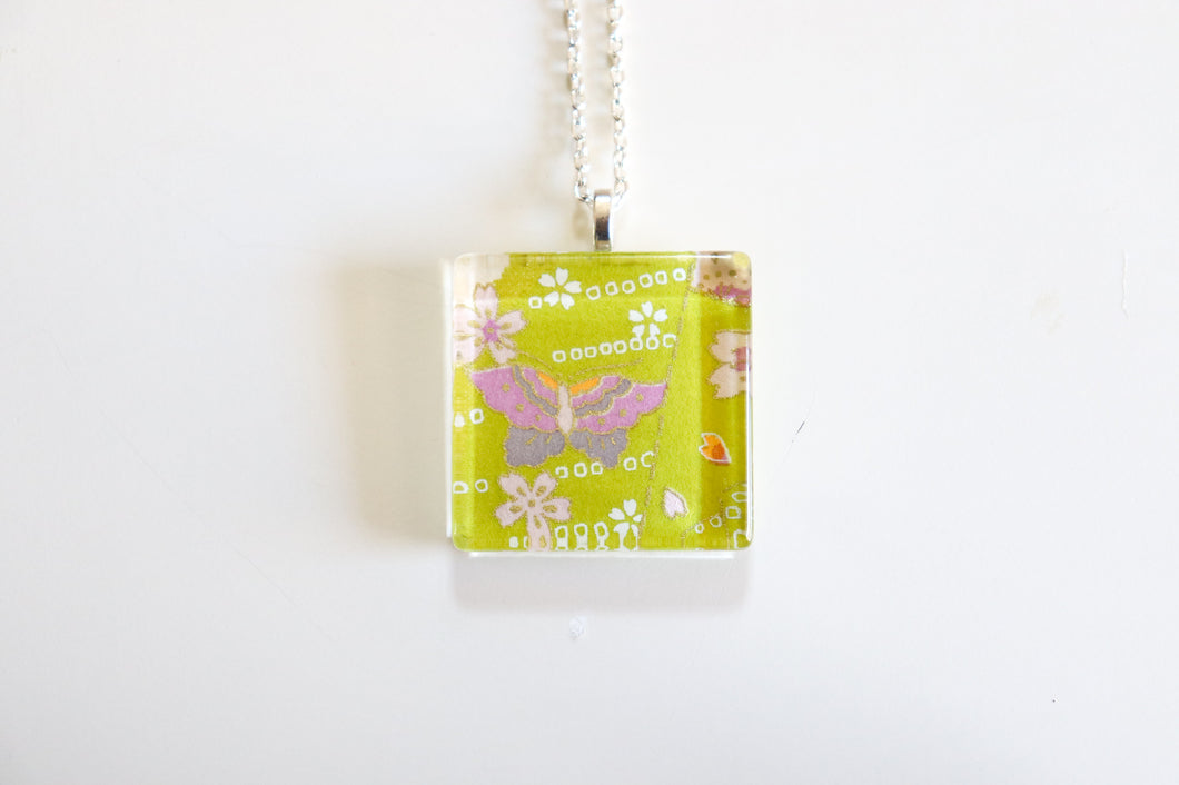 Butterflies - Square Washi Paper Pendant Necklace