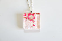 Load image into Gallery viewer, Pink Plum Blossoms- Square Washi Paper Pendant Necklace