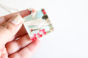 Pink Plum Blossoms- Square Washi Paper Pendant Necklace