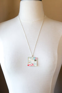 Red Plum Branches - Rounded Square Washi Paper Pendant Necklace