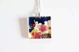 Fans and Plums - Square Washi Paper Pendant Necklace